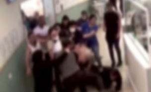 """המאבטח שהותקף באלימות בביה""""ח בנהריה משחזר (צילום: מתוך """"חדשות הבוקר"""" , קשת 12)"""