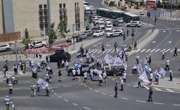 """מחאת נכי צה""""ל  (צילום: N12)"""