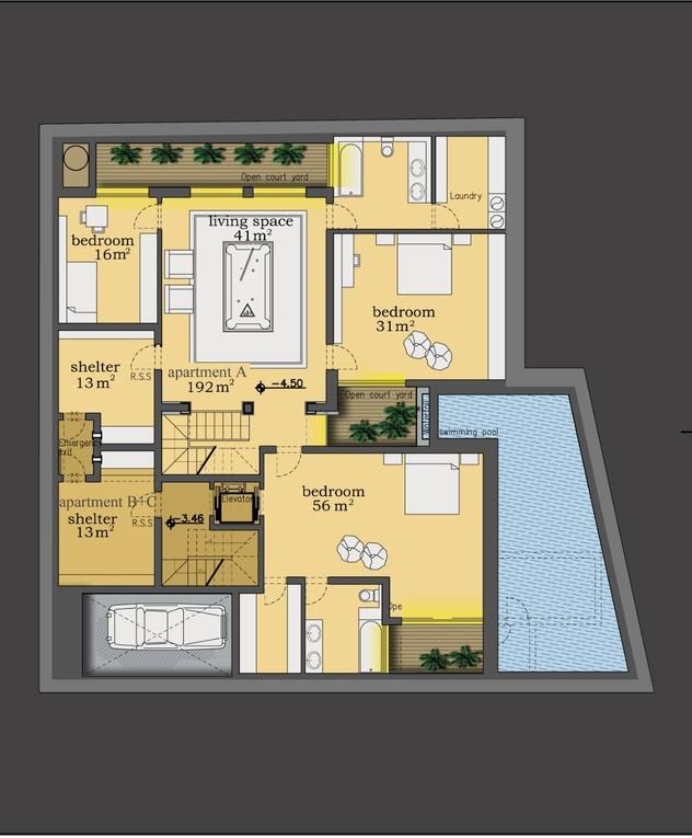 בית בנווה צדק, אדריכלות דובי וויט, עיצוב פנים עופר קינן, בית תחתון