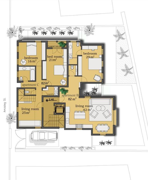 בית בנווה צדק, אדריכלות דובי וויט, עיצוב פנים עופר קינן, הקומה הרא