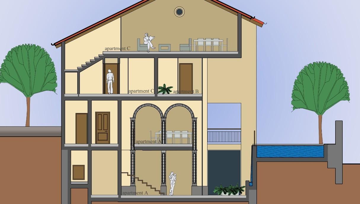 בית בנווה צדק, אדריכלות דובי וויט, עיצוב פנים עופר קינן, חתך הבית