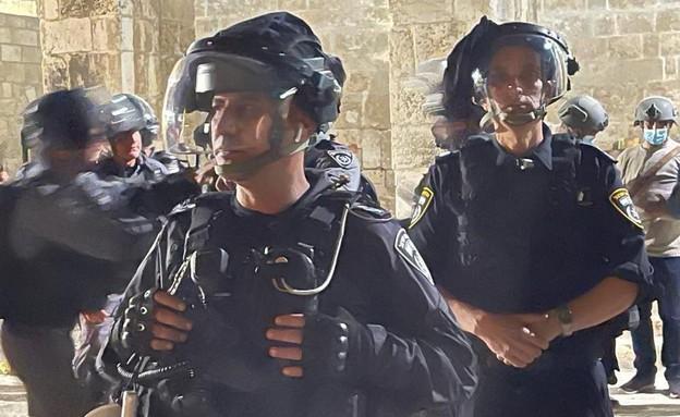 העימותים בהר הבית: כוחות הביטחון בהיערכות (צילום: דוברות המשטרה)