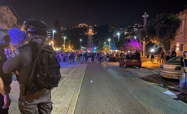 מחאה בחיפה (צילום: דוברות המשטרה)