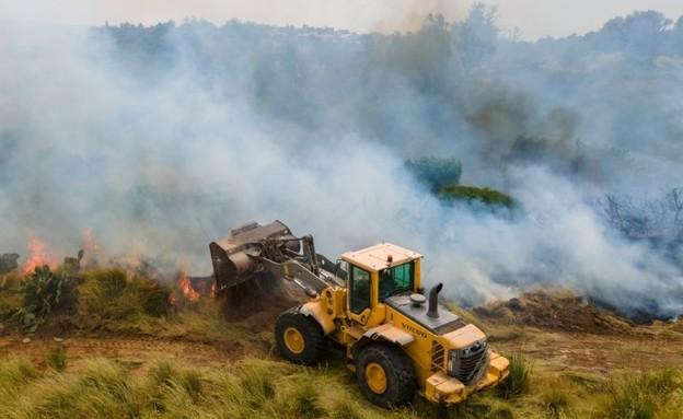אש בלוני התבערה בנחל שיקמה היום (צילום: אמנון זיו)