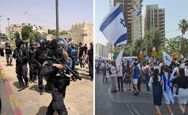 מתיחות בירושלים בצל מצעד הדגלים (עיבוד: שי פרנקו, רויטרס)