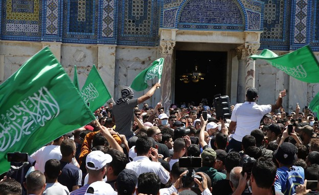 הר הבית, חמאס, ירושלים, מהומות בירושלים, הפגנה (צילום: פלאש 90)