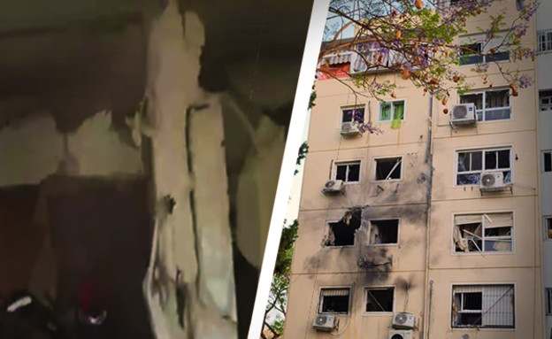 פגיעה ישירה בבניין באשקלון (עיבוד: דוברות עיריית אשקלון)