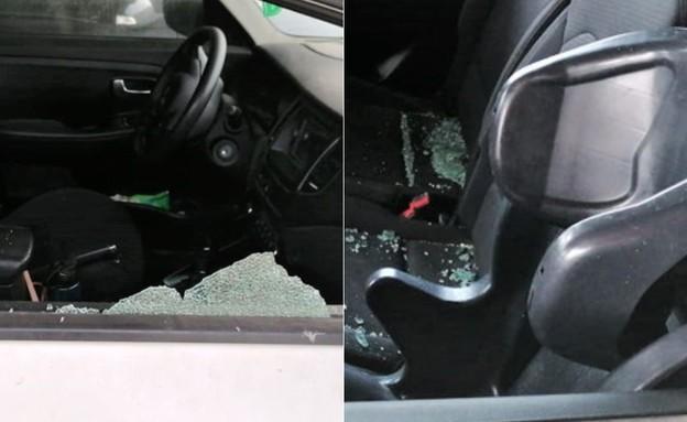 רכבו שהותקף (צילום: פרטי)