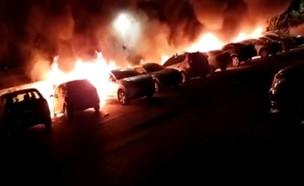 שריפת מכוניות בלוד