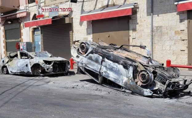 נזק חמור למכוניות במהומות בלוד