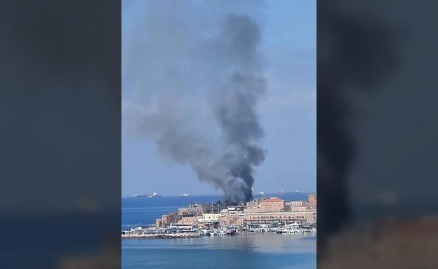 שריפה בנמל בעכו (צילום: רשתות חברתיות לפי סעיף 27א)