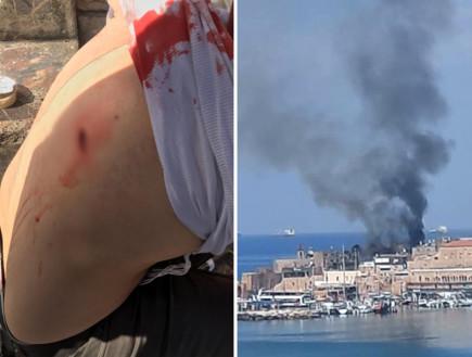 יהודי שנדקר בלוד, שריפה בנמל עכו (צילום: רשתות חברתיות לפי סעיף 27א)