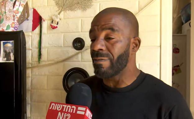 סאברי, אביהם של הילדים שנפגעו מבקבוק תבערה ביפו (צילום: חדשות  12, חדשות 12)