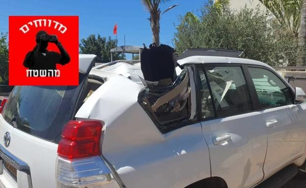 פגיעה ברכב ראשון לציון (צילום: ראשון לציון א.נ)