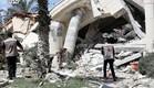 """הוילה של אל חאלדי לפני ואחרי הפצצת צה""""ל (צילום: מתך הרשתות החברתיות לפי סעיף 27א' לחוק זכויות יוצרים)"""