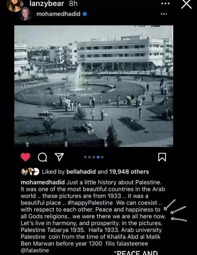הפוסט של מוחמד חדיד (צילום: instagram)