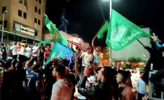 הפלסטינים חוגגים את ניצחון עזה