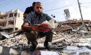 חנות הספרים העזתית שנהרסה (צילום: Mahmud Hams / AFP, Getty images)