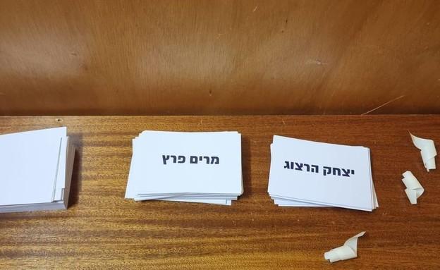 הפתקים של יצחק הרצוג ומרים פרץ מאחורי הפרגוד (צילום: ישכר זלמנוביץ')