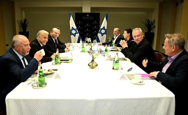 פגישת ראשי המפלגות  (צילום: רענן כהן)