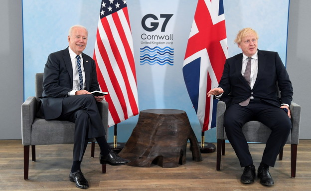 ג'ו ביידן ובוריס ג'ונסון בכנס G7 (צילום: רויטרס)