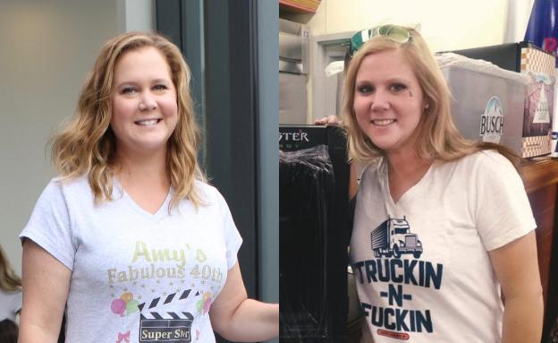 הכפילה של איימי שומר (צילום: twitter/Celina 52 Truck Stop ; Nancy Rivera/Bauer-Griffin/GC Images)