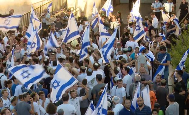 צעדת הדגלים בירושלים (צילום: N12)