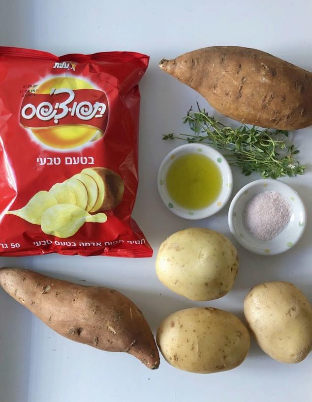 מניפות תפוחי אדמה ובטטה - המצרכים (צילום: עז תלם)