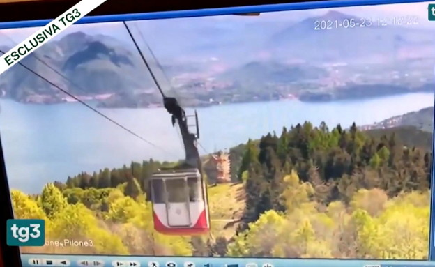 תיעוד הרכבל באיטליה ברגע הנפילה