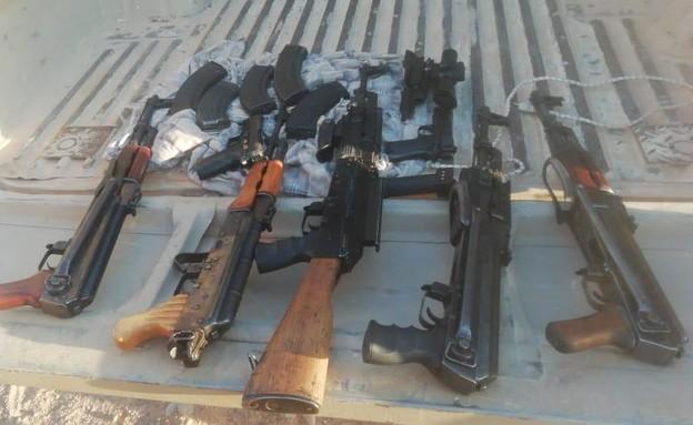 הנשק שנתפס במהלך סיכול ההברחה בגבול ירדן
