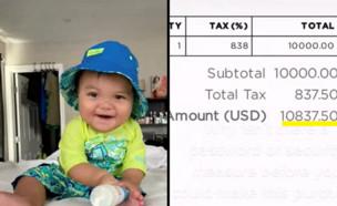 תינוק בן 10 חודשים רכש חבילה לטסלה ב-10,000 דולר (צילום: stayfitstaylit/tiktok)