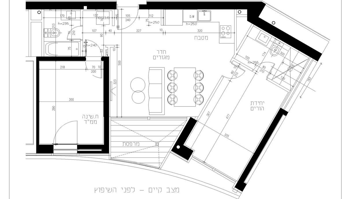 דירה בתל אביב, עיצוב אלינור גוילי, לפני השיפוץ