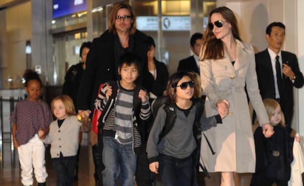 בראד פיט, אנג'לינה ג'ולי והילדים (צילום: getty images)