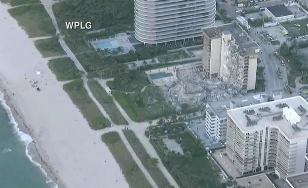 קריסת בניין במיאמי (צילום: cnn)