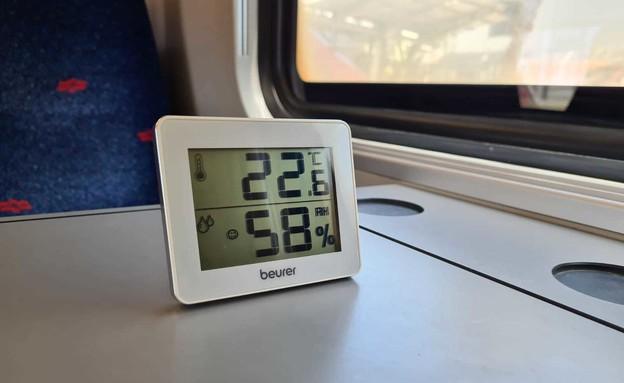 מדידת מזגן ברכבת 2 (צילום: כרמל ליבמן, N12)