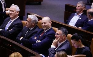 ראשי הקואליציה במליאת הכנסת (צילום: אוליבר פיטוסי, פלאש 90)