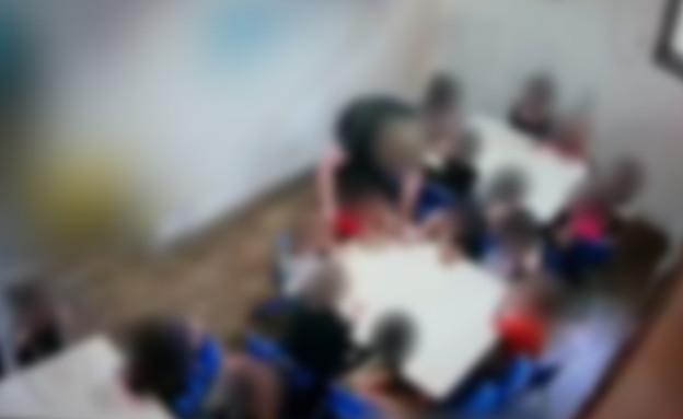 התעללות בגן ילדים (צילום: מצלמות אבטחה)