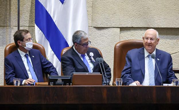 יצחק הרצוג, יושב ראש הכנסת מיקי לוי והנשיא ריבלין  (צילום: נועם מושקוביץ, דוברות הכנסת)