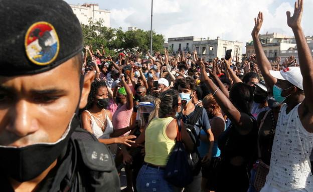 מחאה בקובה (צילום: רויטרס)