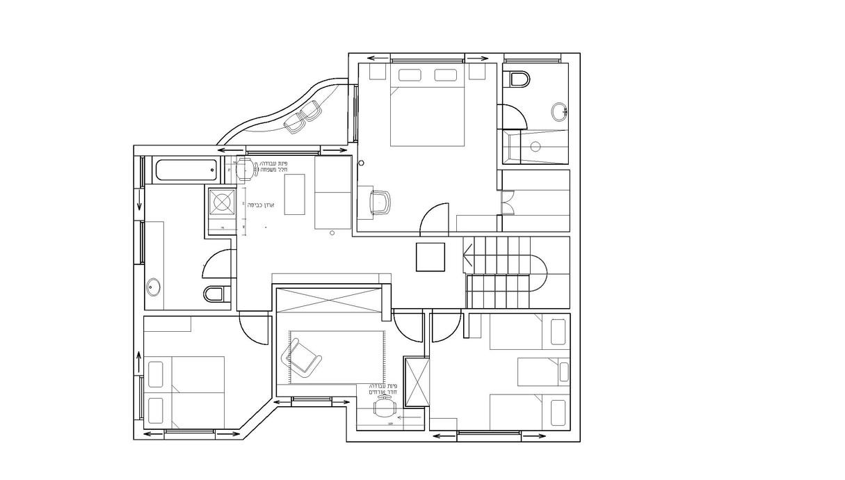 בית בהוד השרון, עיצוב חן איתן, תוכנית קומת חדרים