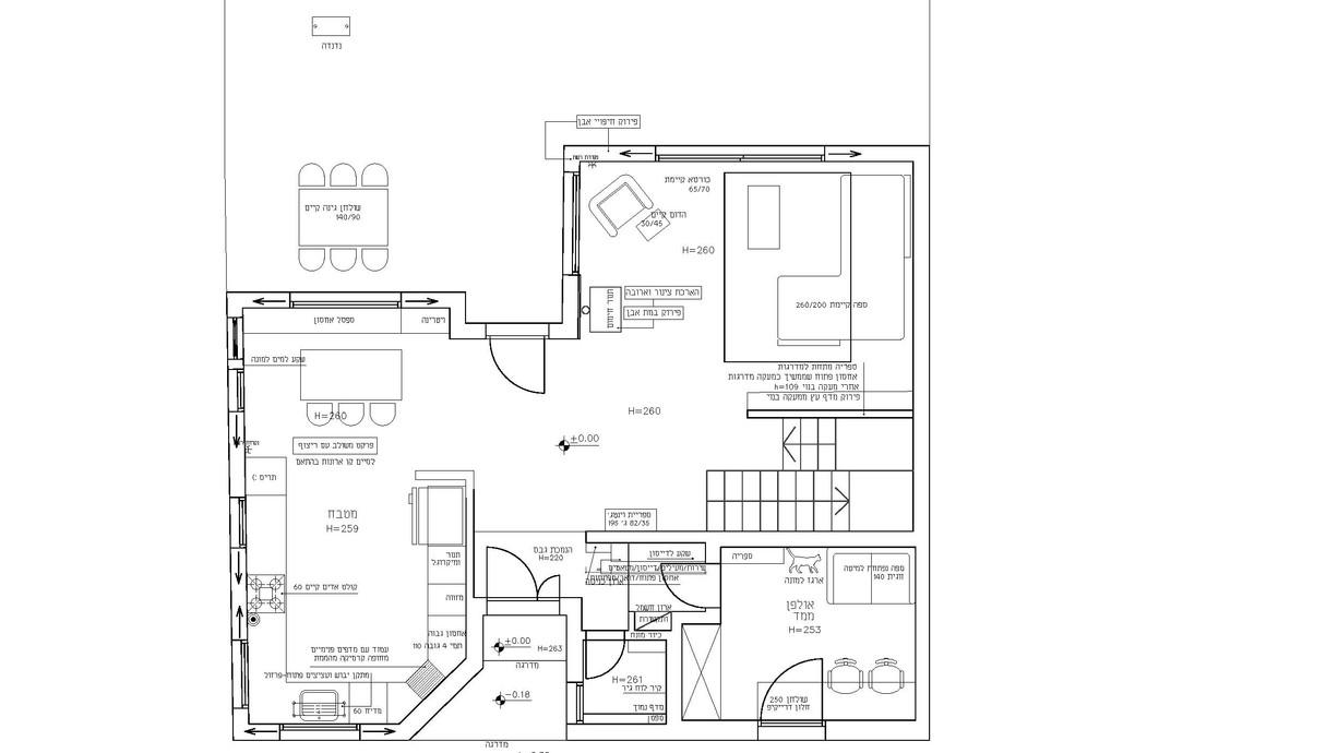 בית בהוד השרון, עיצוב חן איתן, תוכנית קומת כניסה