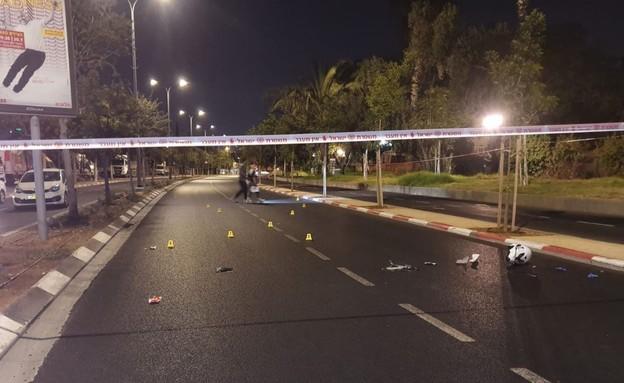 זירת האירוע ירי בשכונת תל כביר בתל אביב