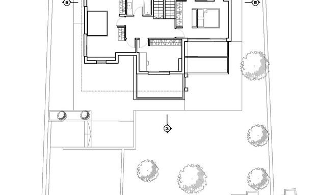 בית בקיבוץ מגל, עיצוב לילך פלד, ג, תוכנית קומה עליונה (שרטוט: לילך פלד)