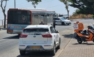 זירת התאונה בצפת שבה נדרסה בת 5 על ידי אוטובוס (צילום: איחוד הצלה)