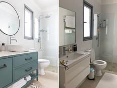 שיפוץ חדרי רחצה, עיצוב רויטל ארז (צילום: לפני: רויטל ארז, אחרי: אורית ארנון)