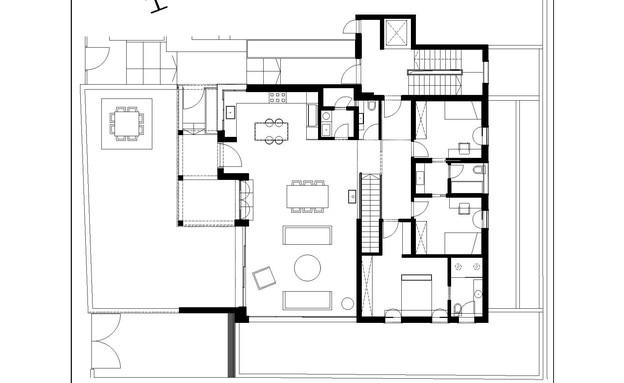 בית בעיר בשרון, עיצוב בלומנפלד מור אדריכלים, תוכנית אדריכלית (שרטוט: בלומנפלד מור אדריכלים)