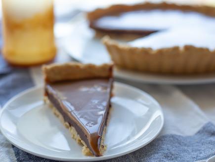 פאי שוקולד וקרמל מלוח - פרוסה