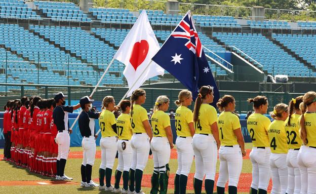 טורניר הסופטבול לנשים - יפן נגד אוסטרליה (צילום: ג'ורג' סילבה, רויטרס)