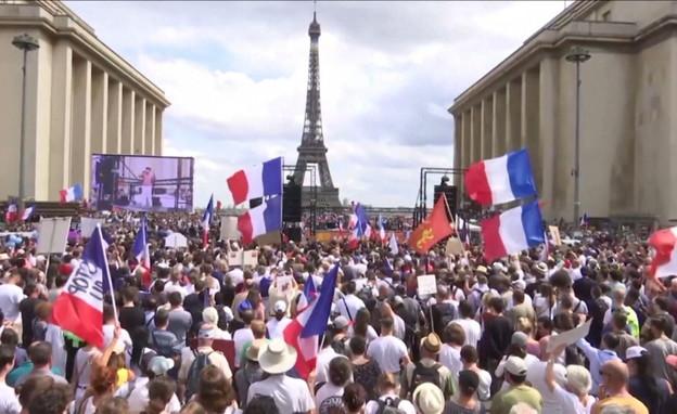 הפגנות נגד הקורונה בפריז (צילום: reuters)