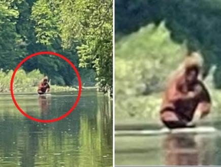 חותר קיאק שט במורד הנהר - ומה שהוא צילם מעורר קונספירציות ברשת